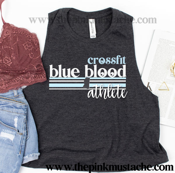 CFBB - Crossfit Blue Blood - Ladies Cropped Tanks - Bella Canvas Muscle  Tanks