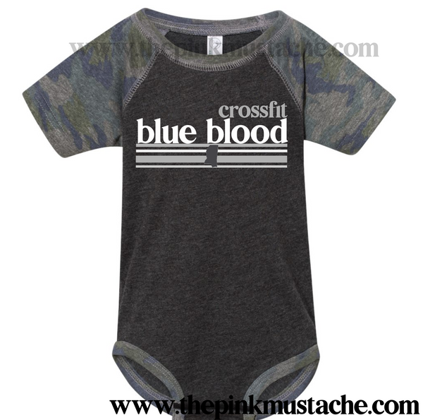 CFBB - Crossfit Blue Blood - Baby Onesie - Camo Raglans - Newborn to 24 Months