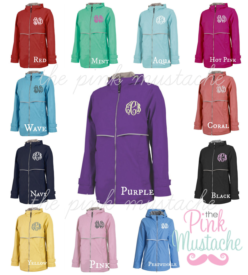 Monogrammed Charles River New Englander Jacket - The Pink Mustache , Monograms, Boutique , Children , Monogram Clothing,
