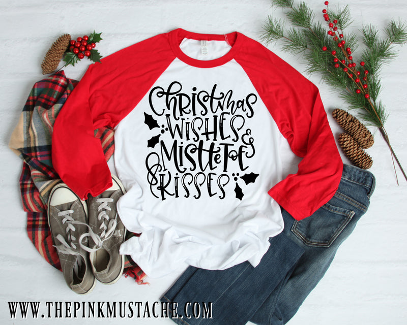 Christmas Wishes and Mistletoe Kisses Raglan / Merry Christmas Boutique Graphic Raglan / Youth and Adult sizing / Buffalo Plaid Christmas