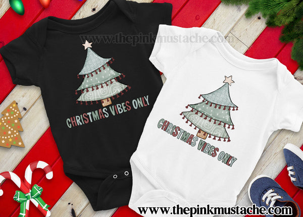 Christmas Vibes Only - Baby Onesie - Super Cute Christmas Tree Onesie