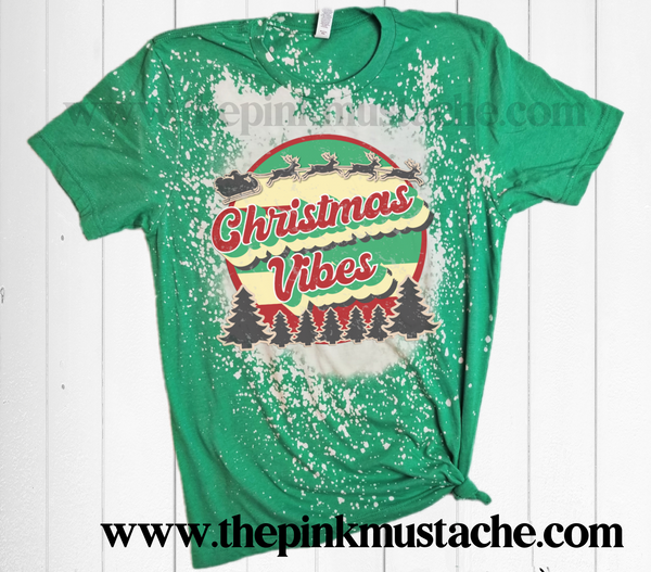 Bleached Bella Canvas Retro Christmas Vibes Shirt / Bleach Tee - Christmas T-Shirt Bleached