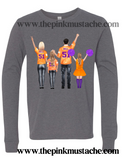 Custom Cheer Mom and Family Watercolor Football Long Sleeve Bella T-Shirts/ Unisex sized Bella Canvas Shirts