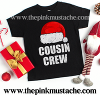 Cousin Crew Youth Shirt / Youth Tees / Santa Hat Cousin Shirts - NB - Toddler - Youth- Adult Sizing