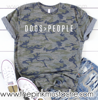 Camouflage Dogs > People T-Shirt / Camo I like Dogs more than People Tee/ Sizes S-XXXL/ Dog Mom Tee