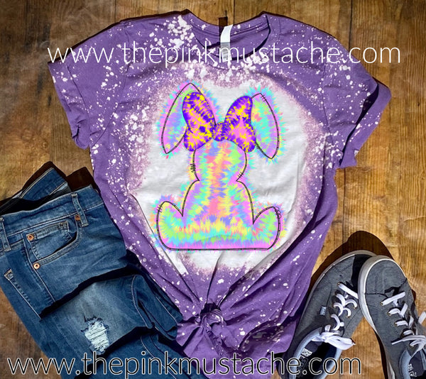Bleached Youth and Adult Tie Dye Easter Bunny Tees/  Softstyle Purple Tee/Easter
