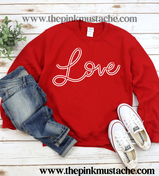 Love Valentines Day Retro Unisex Sweatshirt/  Valentine's Sweatshirt/ Valentines Day Sweater