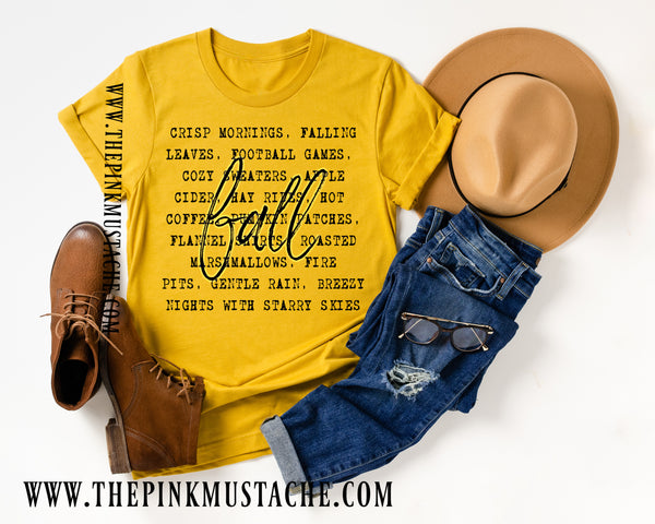 Crisp Mornings, Fall Leaves, Football Games - FALL words Tee/ Bella Canvas / Fall Layering Tee / Teachers Tee