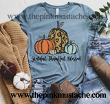 Grateful, Thankful, Blessed Hand Painted Pumpkins Tee/ Bella Canvas Fall Tee/ Fall T-Shirt with Pumpkins / Leopard Pumpkins