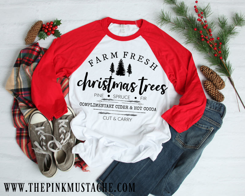 Christmas Tree Farm Tee/ Farm Fresh Christmas Raglan / Youth and Adult sizing