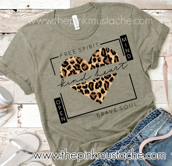 Free Spirit Kind Heart Brave Soul Open Mind Tee/ Positive Heart Leopard Tee / Youth and Adult Sizing/Teachers Tee/ Mom's Tee/ Gift for Her/