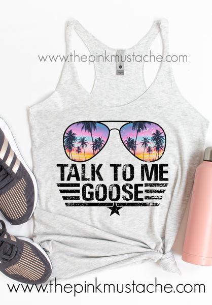 Talk To Me Goose Tank Top Aviators - Bright Colors / Top Gun Inspired Tank/ Maverick Goose / Aviators Tank - Top Gun 2 Inspired