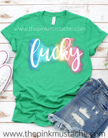 Lucky Watercolor Rainbow St. Patrick's Day Shirt SALE/ Kids and Adult Sizing/ Youth and Adult Mommy and Me Shirts