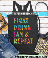 Float Drink Tan and Repeat Summer Style / Women's Racerback Tank Top / Fun Beach Cover Up Tank