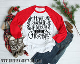 Have Yourself A Merry Little Christmas / Merry Christmas Boutique Raglan / Youth and Adult sizing / Buffalo Plaid Christmas