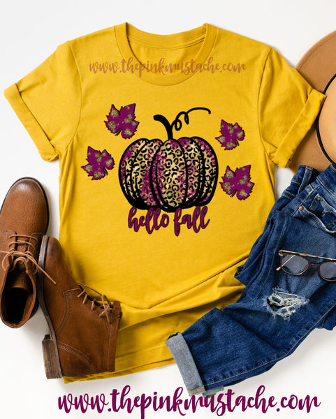 Hello Fall Tee/ Hello Fall Shirts Youth and Adult Shirts /Fall Style / Mustard Tee/ Leopard Pumpkin