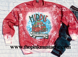 Bleached Hippie Holidays Santa Tie Dye Design Christmas Sweatshirt/ Super Cute Bleached Christmas Sweatshirt - Oversized
