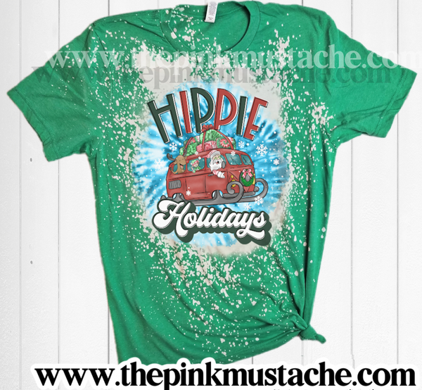 Bleached Hippie Holidays Santa Tie Dye Design Christmas Tee/ Super Cute Bleached Christmas Shirt