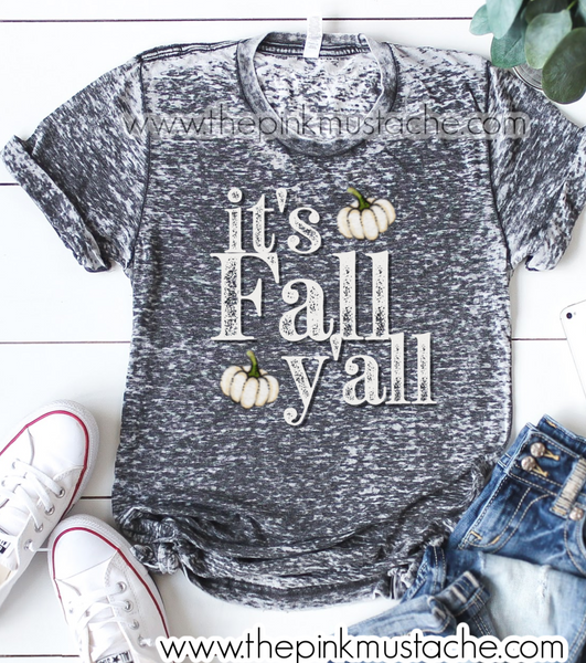 It's Fall Y'all Acid Washed Distressed Tee / Fall Tees