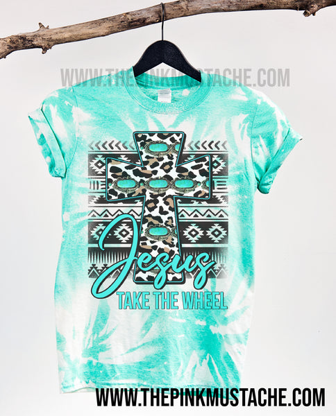 Bleached Jesus Take The Wheel Tee / Softstyle Turquoise Seafoam Tee