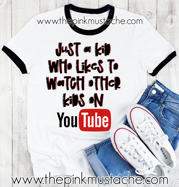 Just A Kid Who Likes To Watch Other Kids On YouTube Ringer Tee- Sizes 2T-Youth Large