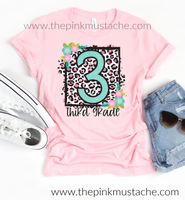 Back To School Tees / Floral Leopard Designs / Pre-Kindergarten - 6th Grade