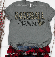 Leopard Baseball Mama Tee/ Baseball Mom Tee / Cheetah Baseball Mom