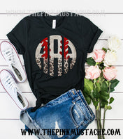 Monogram Leopard Baseball Tee/ Baseball Mom Shirt/ Bella Canvas Tee