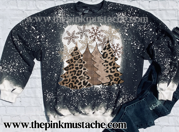 Bleached Leopard and Plaid Christmas Trees Tan Tees Sweatshirt/ Super Cute Bleached Christmas Sweatshirt - Oversized