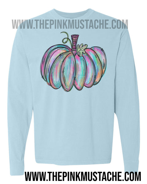 Long Sleeved Fall Hand Painted Pumpkin Watercolor Tee/ Hello Fall Shirts Youth and Adult Shirts /Fall Style/ Comfort Colors
