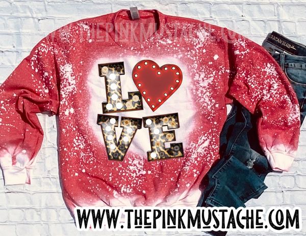Love - Custom Bleached Red Sweatshirt / Unisex Sized Sweatshirt / Valentines Day Sweatshirt