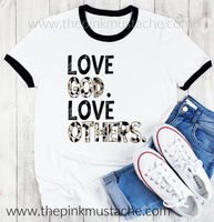 Love God Love Others Ringer Tee- sizes 2T - Adult 3XL - Soft Style Tees / Mommy and Me
