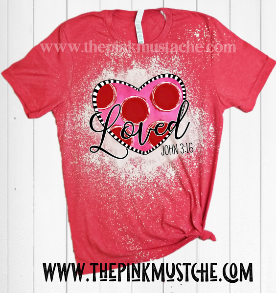 Loved - John 3.16 Heart  -  Heart Religious Red Softstyle Tee/ Unisex Sized Tee / Valentines Day Shirt