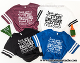 Love You To The End Zone And Back Jersey Style T-Shirts