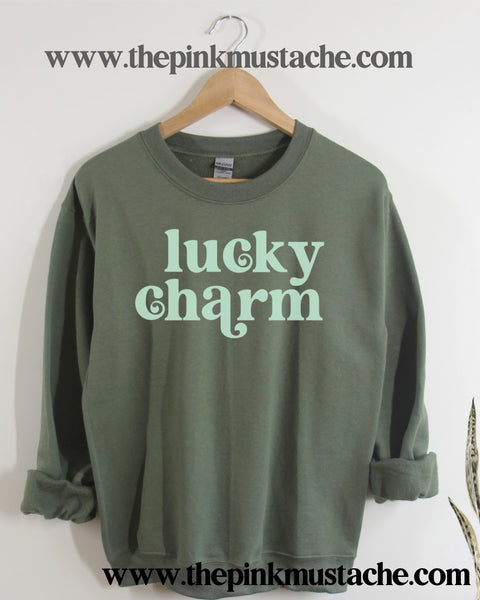 SALE Lucky Charm St Patty's Day Retro Vibes Sweatshirt / Western Vintage Style Sweater - St Patricks Day Shirt