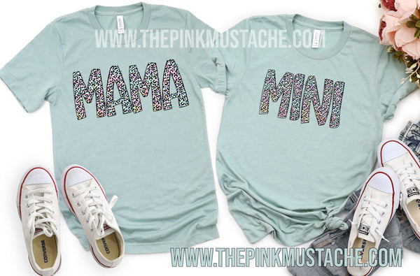Leopard Mama Mini Tees /Mommy and Me Matching Tee/Bella Canvas Youth and Adult Sizing Available