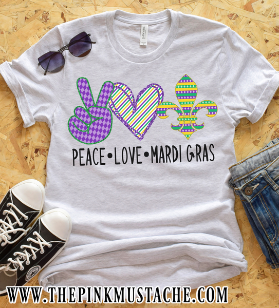 Peace Love Mardi Gras Graphic Tee / Youth and Adult Sizes / Mardi Gras T-Shirt / Mommy and Me/ Gift For Her