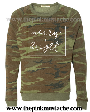 Merry and Bright Christmas Camo Mineral Wash Quality Soft Sweatshirt / Christmas Sweatshirt Camouflage