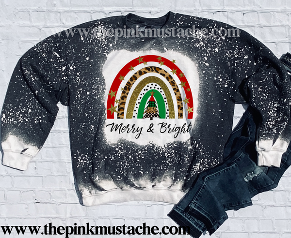 Bleached  Merry and Bright Rainbow Christmas Sweatshirt/ Super Cute Bleached Christmas Sweatshirt - Oversized