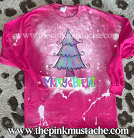Bleached  Merry and Bright Christmas Trees Pink Long Sleeved Tee/ Super Cute Bleached Christmas Shirts