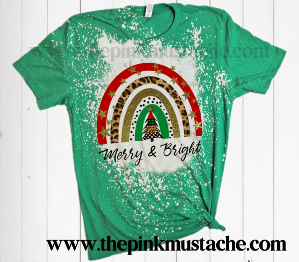 Bleached Merry and Bright Christmas Rainbow Shirt / Rainbow Bleached Tee - Christmas T-Shirt Bleached