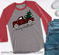 Merry Christmas Buffalo Plaid Truck Raglan / Merry Christmas Boutique Graphic Raglan Buffalo Plaid Christmas/ Youth and Adult Sizing