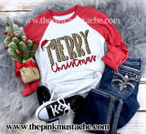 Merry Christmas Raglan / Youth and Adult sizing / Leopard Print Christmas - SALE