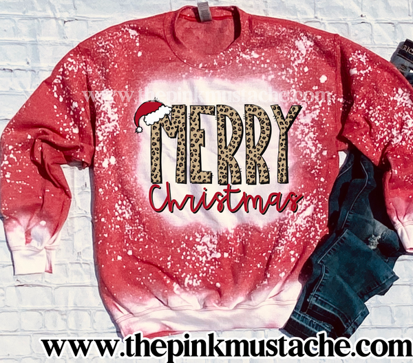 Bleached Merry Christmas Sweatshirt/ Super Cute Bleached Christmas Sweatshirt - Oversized