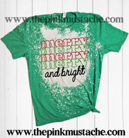 Bleached Bella Canvas Merry, Merry, Merry, and Bright Christmas Shirt / Bleach Tee - Christmas T-Shirt Bleached