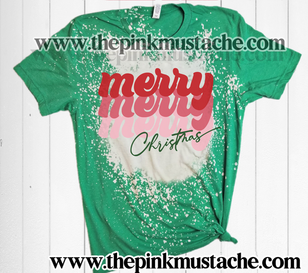 Bleached Soft Style Tee - Merry Merry Merry Christmas Stacked Shirt/ Youth and Adult / Christmas Shirt Tees