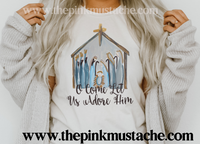 Nativity Watercolor Oh Come Let Us Adore Him Bella Canvas T-Shirt /Youth and Adult Sizes/ Nativity Christmas Tees / Christmas T-Shirt