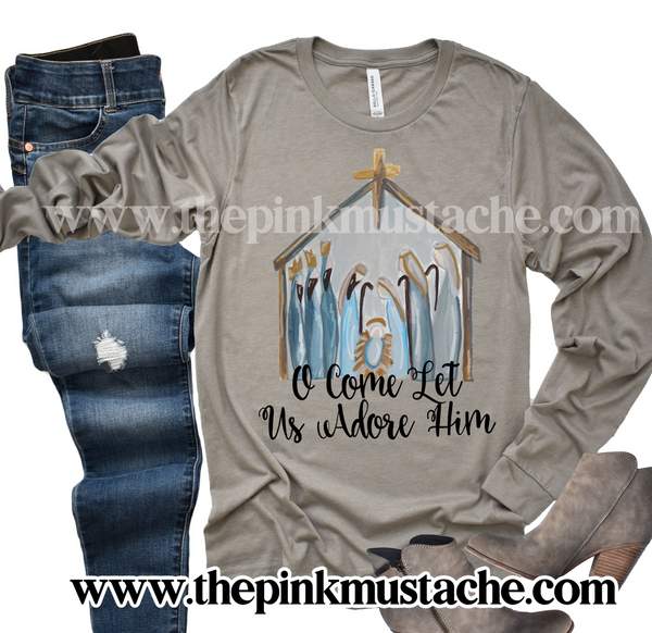 Nativity Watercolor O Come Let Us Adore Him Long Sleeved Bella Canvas T-Shirt / Nativity Christmas Tees / Christmas T-Shirt