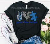 Peace Love Autism Tee / Unisex Sized Autism Awareness T-Shirt