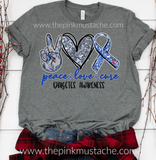 Peace Love Cure - Diabetes Awareness Tee / Unisex Sized Diabetes Awareness T-Shirt/ Youth and Adult Sizing